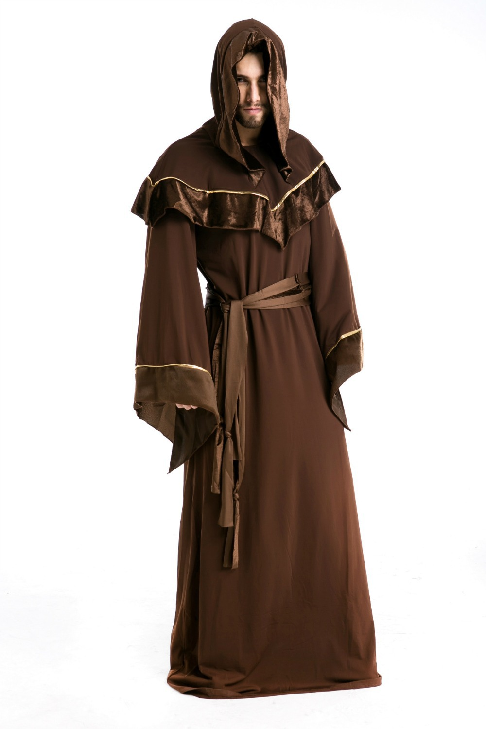 Free Shipping 1 Set Fashion Brown Men Witch Cosplay Halloween Costumes For Men Cosplay Fantasias ...