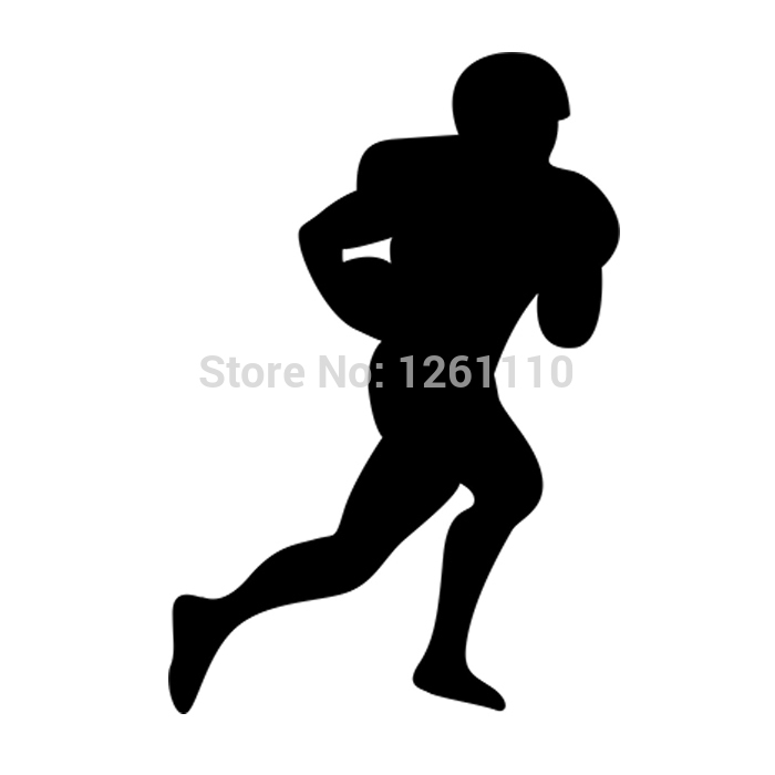 40 pcs/lot American Football Soccer Player Silhouette Rugby Sport Man Ball Art Vinyl Sticker Decals for car SUV Bumper Window(China (Mainland))
