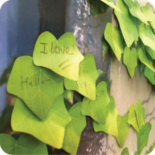Free Shipping Artificial leaves sticky notes n times stickers post it pad novelty desktop stationery(China (Mainland))