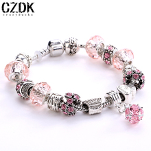Fashion 925 Sterling Silver Field of Daisies Murano Glass&Crystal European Charm Beads Fits Pandora Style Bracelets