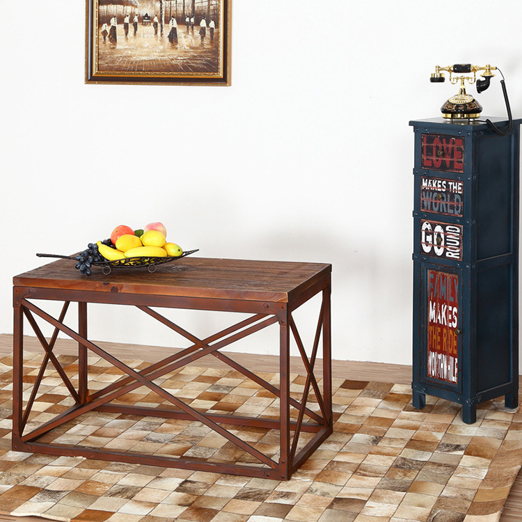 However excellent home American country to do the old retro wood wrought iron coffee table Creative Living Room Furniture Leisur<br><br>Aliexpress