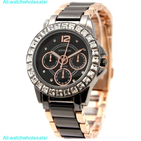 FW830P Rose Gold + PNP Band Water Resist Black Dial Women Ceramic Bracelet Watch