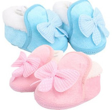 The New infant Winter  Warm Thick Cotton Non-Slip Padded Bow Toddler Shoes Pink Blue Free Shipping(China (Mainland))