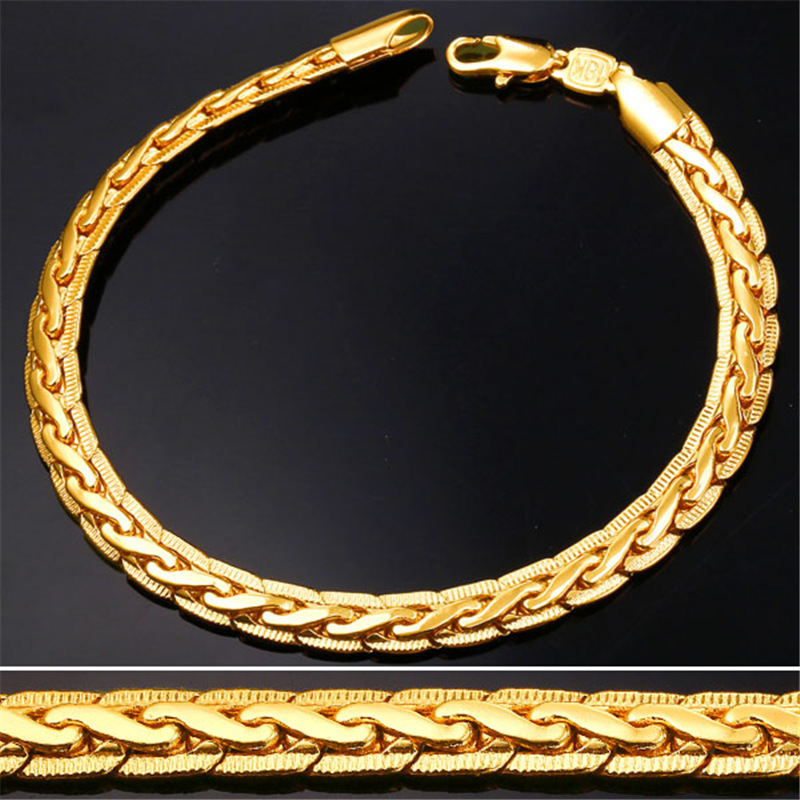 18K Real Gold Plated Bracelet Men Jewelry Wholesale 21CM Trendy Snake Hand Chain Bracelet For Men Gift H631(China (Mainland))