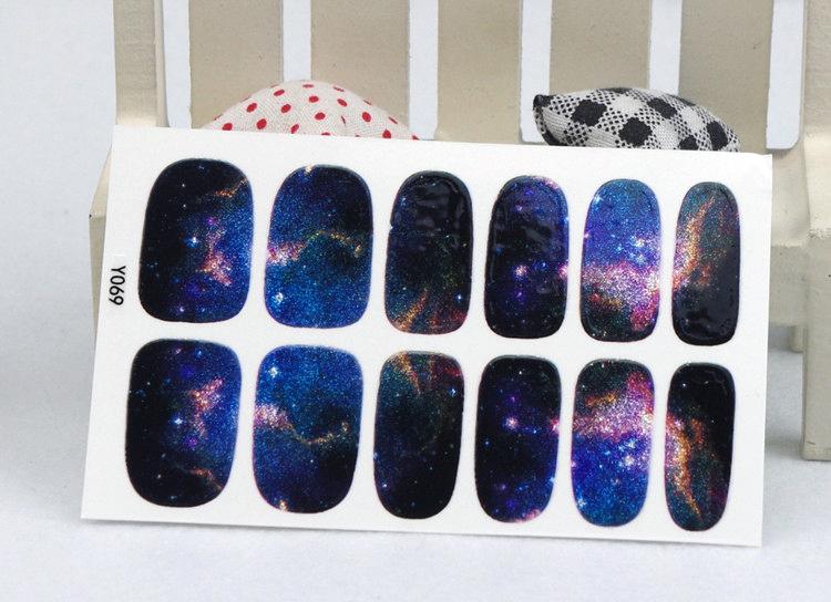 Гаджет  Y5069 Manicure 3D Decals Auto Adhesive Nail Art Stickers Dark Purple Galaxy Shine Figure Design Nail Wraps Stickers Decal None Красота и здоровье