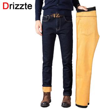 Drizzte Mens Winter Thicken Stretch Denim Jeans Warm Fleece Jean Pants Trousers Size 32 33 34 35 36 38 40 42