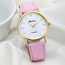 1PC Women s Fashion Dress Watch Leather Band Analog Lady Girls Crystal Hour Bracelets Quartz Wrist