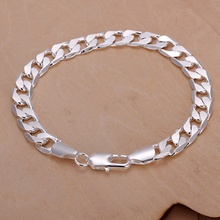 Buy Classic 6MM 8MM 10MM flat MEN bracelet silver Plated bracelets new listings high fashion jewelry Christmas gifts for $1.16 in AliExpress store