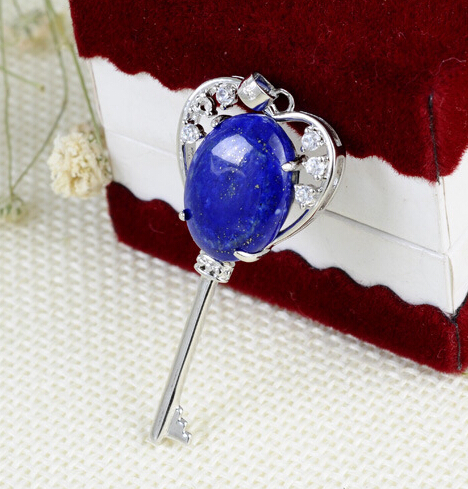 wholesale handmade natural lapis lazuli pendant inlaid 925 sterling silver key pendant(China (Mainland))