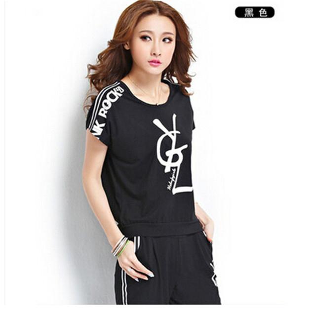 2016 новый летний мода женская одежда комплект летний стиль черный белый комплект 2 шт. комплект спортивный костюм для женщин установлен Survetement роковой