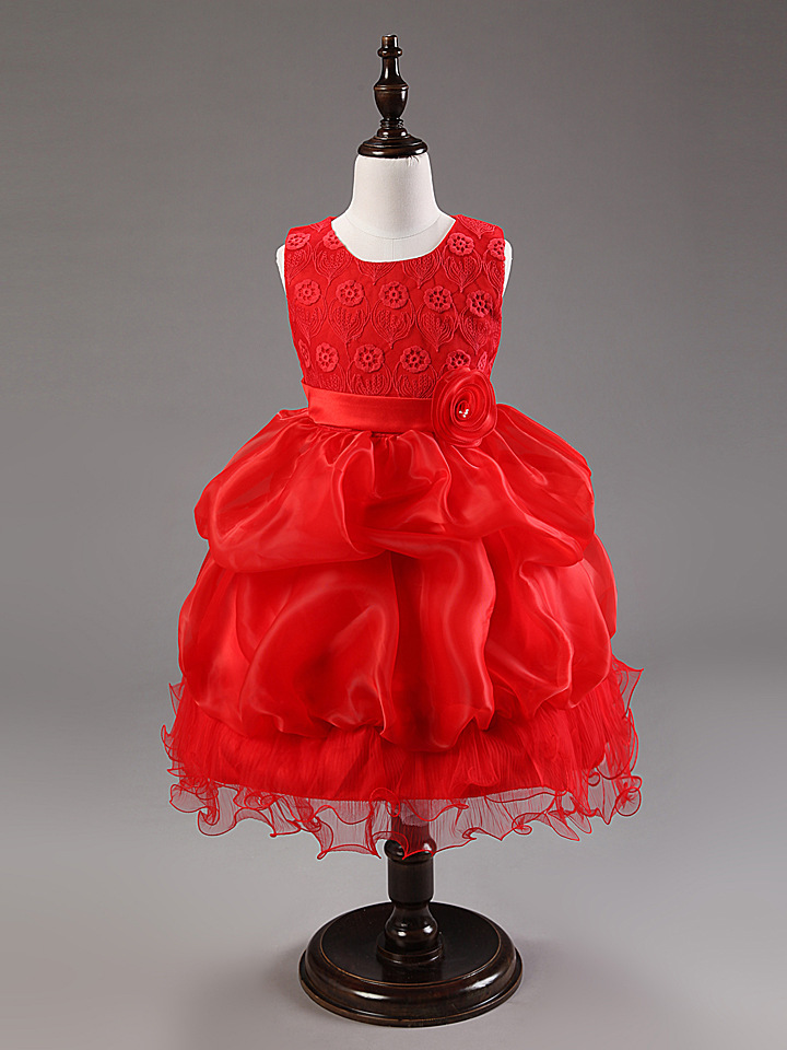 New Real hot sell   princess 2015 Party  Girls Dress Children  sleeveless   dress with rose flower with belt  ready in stock