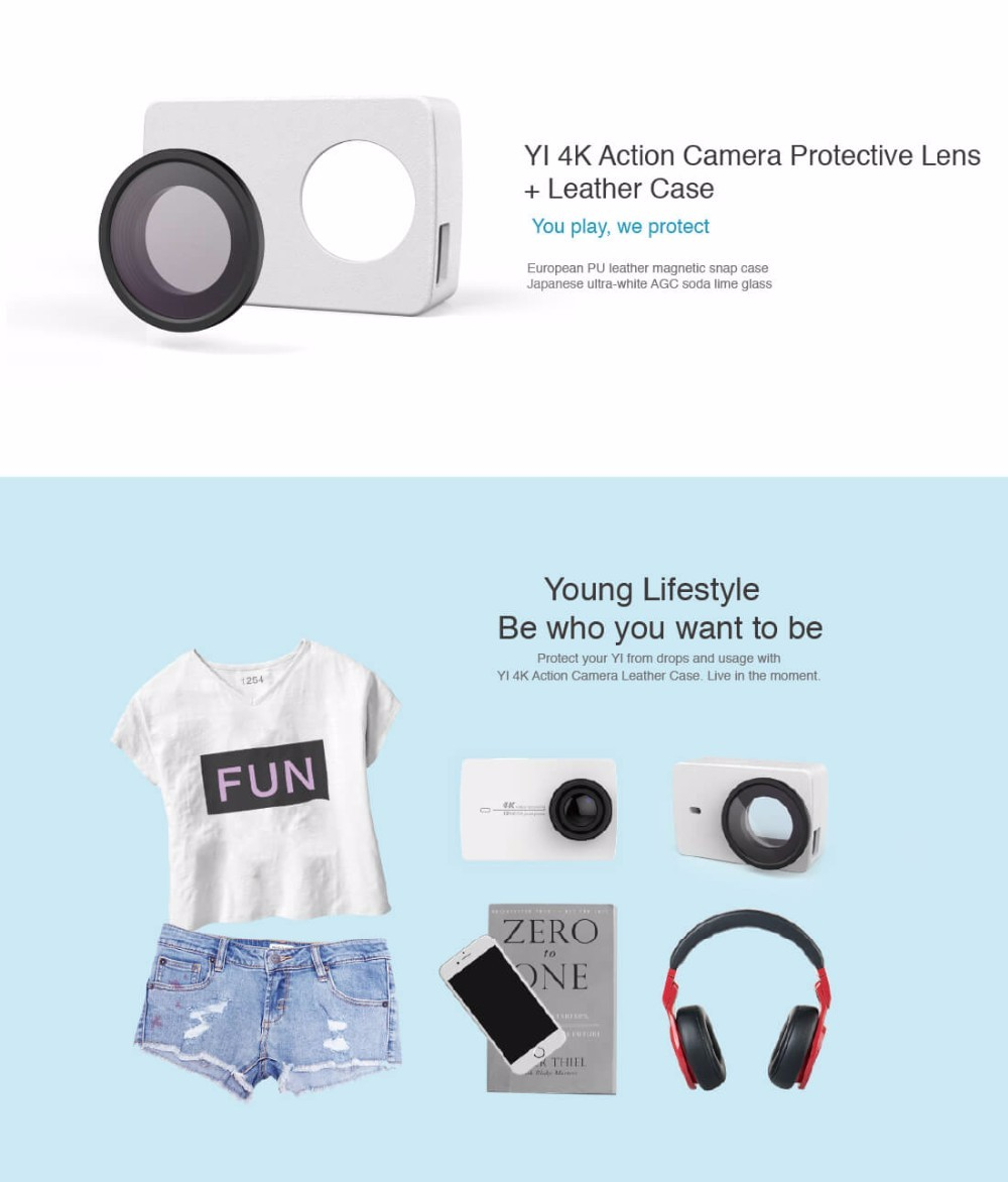 image for Original Lens And Leather Case For Xiaoyi Xiaomi YI 4K Action  Sports