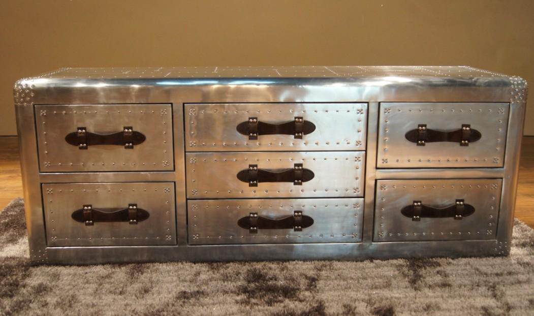Vintage furniture fashion metal quality space aluminum tv cabinet multi drawer cabinet rivet