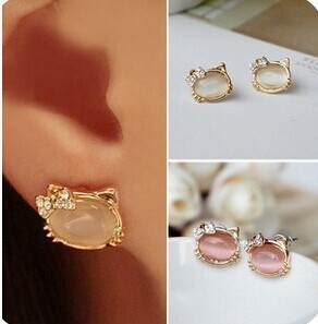 Hello Kitty Jewelry With Crystal Bowknot Opal Cute Cat Stud Earrings female Cat RG E111(China (Mainland))