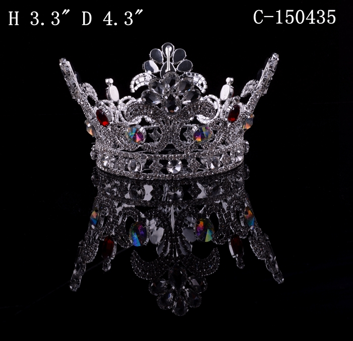 wholesale hair accessories fashion metal silver plated crystal full round big pageant boys crowns hot sales free ahipping(China (Mainland))