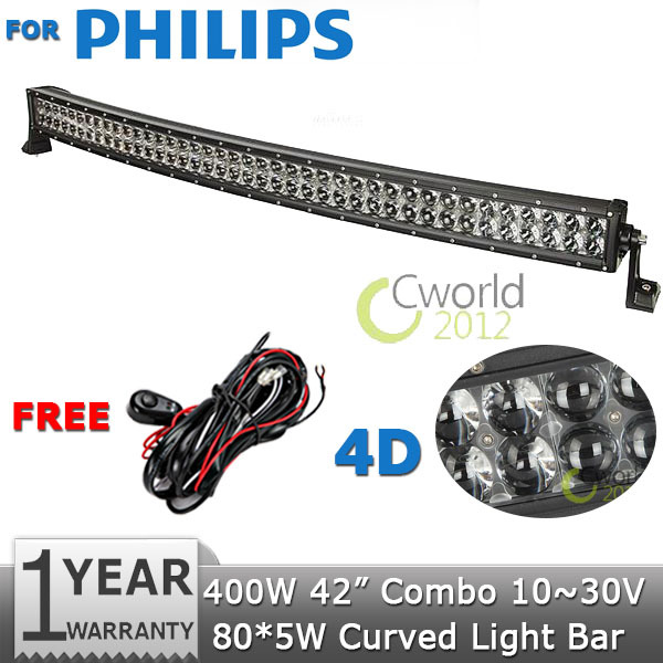 For PHILIPS Curved LED Light Bar 42 inch 400W Led Work Light Combo DC12V 24V Trucks Wagon ATV SUV Pickup 4WD 4x4 Led Bar Offroad(China (Mainland))