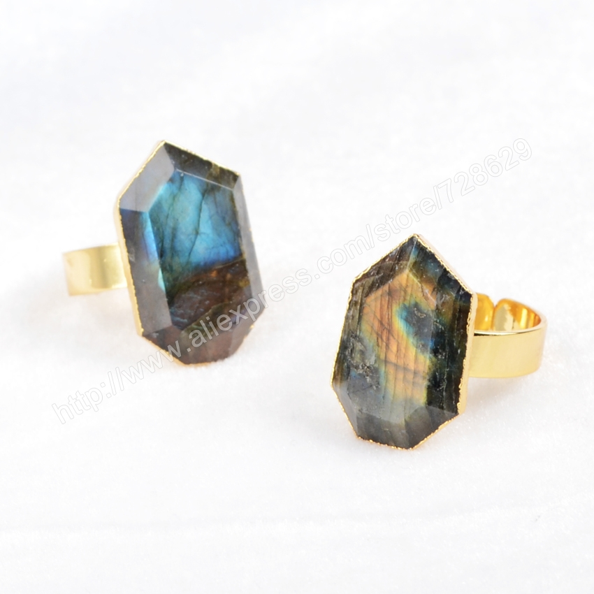 5Pcs/lot Gold Plated Natural Heptagon Natural Labradorite Ring for Women G0557,Ring size:6.5~8.0<br><br>Aliexpress