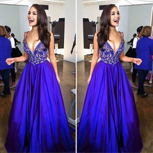 Modest Prom Dresses Long Sleeveless A-line Royal Blue Sexy Prom Dress Ever Pretty QW13 Deep V-neck Fashion Party Prom Gowns 2016(China (Mainland))