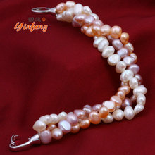 Natural mixed color pearl bracelet pure handmade bangle Freshwater pearl fine jewelry(China (Mainland))