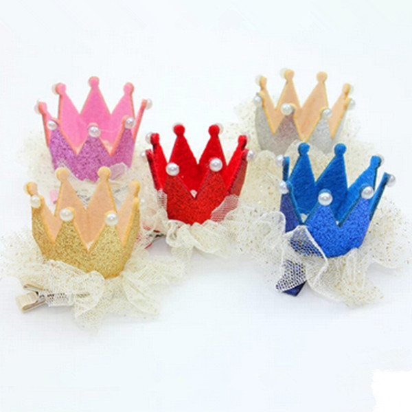 2PCS Baby Child Hair Accessory Lace Princess Crown Hairpin Beautiful Girls Hair Clips Free Shipping(China (Mainland))