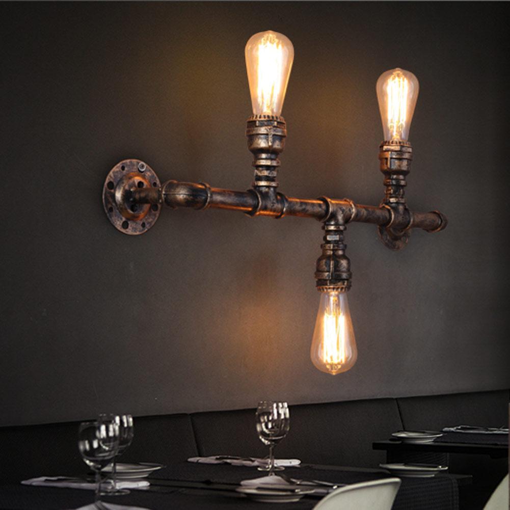 Купить Водопровод Ретро Loft Промышленного Старинные Настенные Лампы С 3 светильники Светильник СВЕТОДИОДНЫЙ Лестница Света Эдисон Бра Lampara Де сравнению