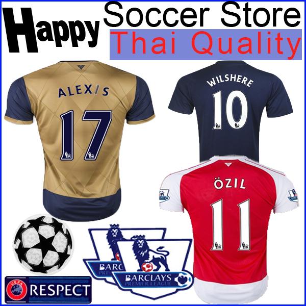 soccer jersey Away sallow Blue 2015 2016 Home red WILSHERE OZIL WALCOTT ALEXIS 15 16 Yellow rojo azul camisas Shirt Uniform(China (Mainland))