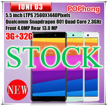 STOCK IUNI U3 4G FDD LTE Cell phone 5.5inch 2560*1440 Qualcomm Snapdragon 801 Quad Core 3GB RAM 32GB ROM 13.0MP