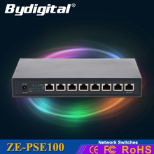 High quality 48V 10/100Mbps 8 Port Fast Ethernet POE Switch  High Performance Network/ LAN Switcher free shipping(China (Mainland))