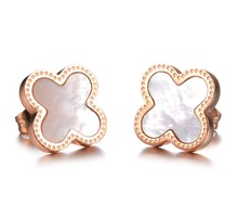 Lucky Four Leaf Clover  Rose Gold Stud Earring Vintage Stainless Steel Jewelry Wholesale Price (China (Mainland))