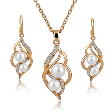 Fashion Double Simulated Pearl Jewelry Set Gold Silver Plated Earrings Necklace Set Crystal Wedding Accessories SET140024(China (Mainland))