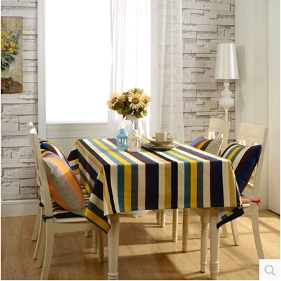 Mdeiterranean style Home hotel dining color stripped Table Cloth Rectangular Tablecloth to table covers home decoration(China (Mainland))