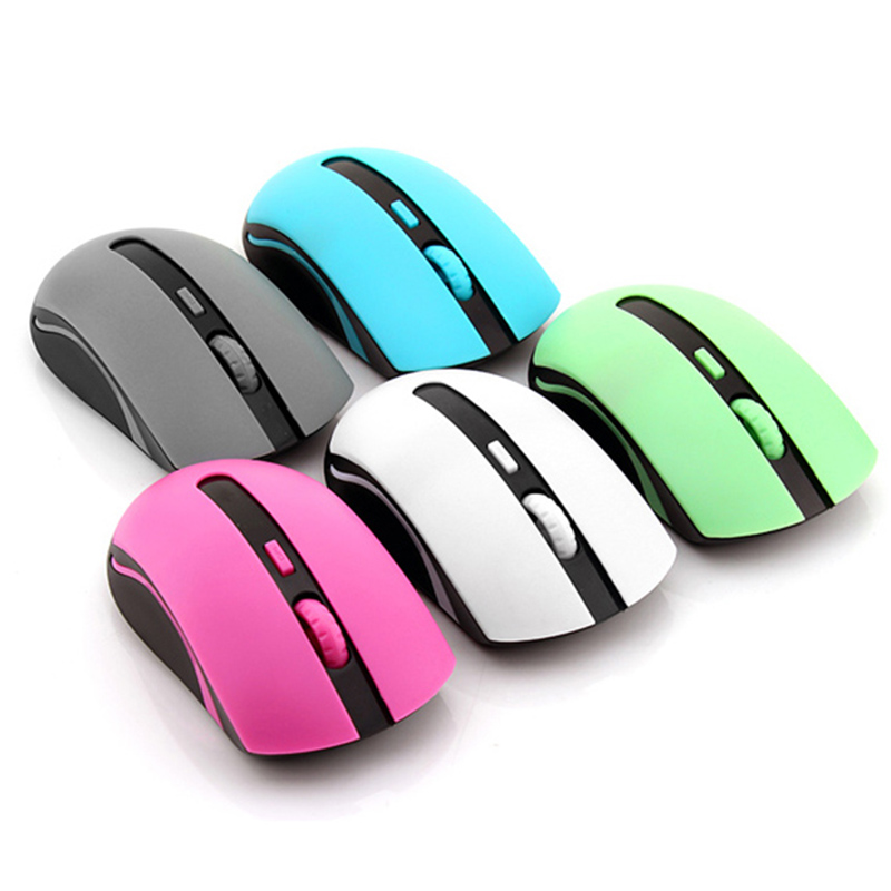 Free Shipping Personality 2.4G USB Optical Mini Mouse Gamer Computer Cheap Mouse Wireless Pink Blue Grey(China (Mainland))