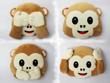 1pcs New Emoji Pillow For Whats app No Speaking No Looking No Listening Emoji Monkey PillowCushion, Stuffed & Plush Monkey Toys(China (Mainland))