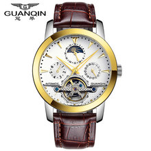 Original GUANQIN Top Brand Luxury Watches Men Tourbillon Automatic Skeleton Mechanical Waterproof Sapphire Mirror Men Watches