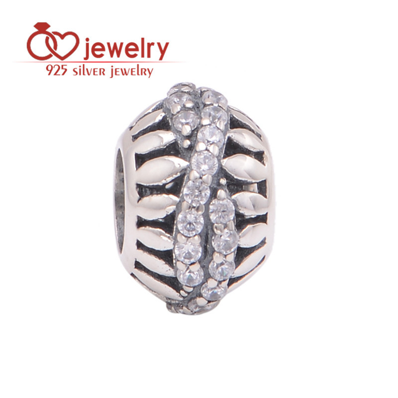 Silver CZ Charm Clear Rhinestone Leaf Beads Charms Fit Diy Gift Brand Bracelets Snake Chain Wholesale Jim's Fine Jewelry X329(China (Mainland))