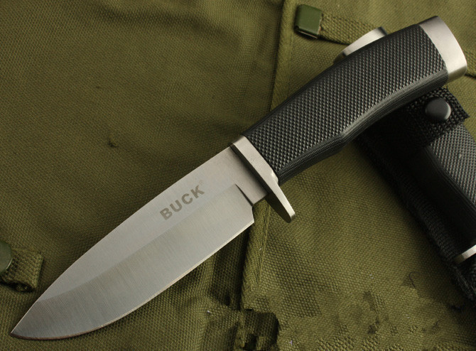 Free shipping OEM Buck 768 white Black straight camping hunting knives survival fixed blade knife rescue