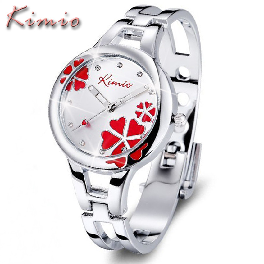 KIMIO Womens Watches Top Brand Quartz Watch Women Dress Discolor Flower Dial Bracelet Watch Casual Women's Watches Wristwatch(China (Mainland))