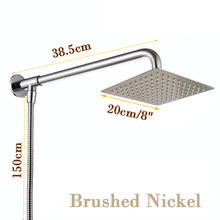 "Buy Nickel Brushed Rainfall Shower Head 8"" Shower Arm & Shower Hose 59"" Wall Mounted for $34.00 in AliExpress store"
