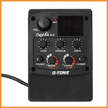 Cherub G-Tone GT-6 Acoustic Guitar Preamp Piezo Pickup 3-Band EQ Equalizer LCD Tuner with Reverb/Delay/Chorus/Wide Effects(China (Mainland))