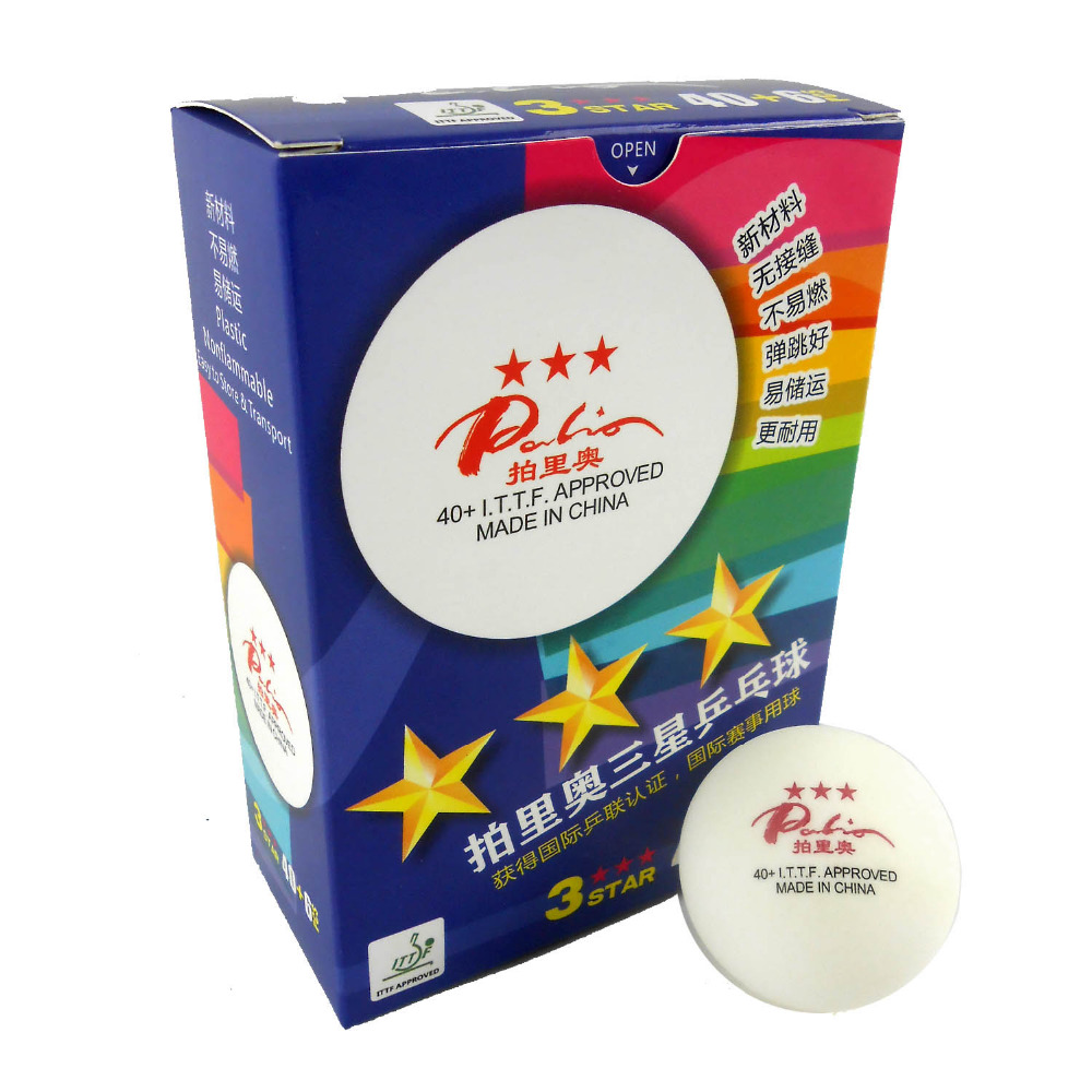 6x Palio New Material Seamless 40+ 3-Star 3 star 3star White Table Tennis Ping Pong Balls(China (Mainland))