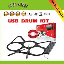 Free Shipping Wholesale Portable discount USB Roll Up Drums electronic instruments musical drum set beats headphones for kids(China (Mainland))