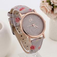 New Arrival 6 Colors Print Flower Matte Texture Strap Quartz Wristwatches Gold Women Dress Watches Relogios Feminino
