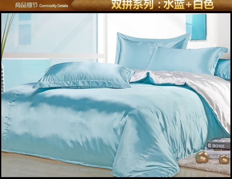 Aqua blue white silk satin bedding comforter set king queen full size sheets linen bed sheet Linge de table luxe