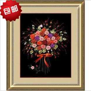 DIY Ribbon embroidery paintings rose print black classic cross stitch kit Free shipping(China (Mainland))