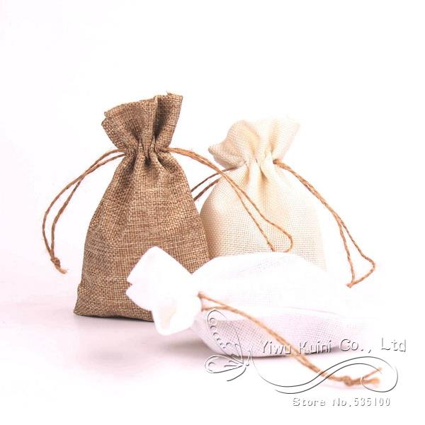12 x  Trendy Natural Linen Drawstring Pouches For Wedding Favors,Candy Bags,Gift Bags Parties, And Crafting(China (Mainland))