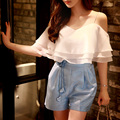 Original 2016 Brand Rompers Lady Summer Plus Size Flower Off the Shoulder Fashion Casual Cute Ruffled