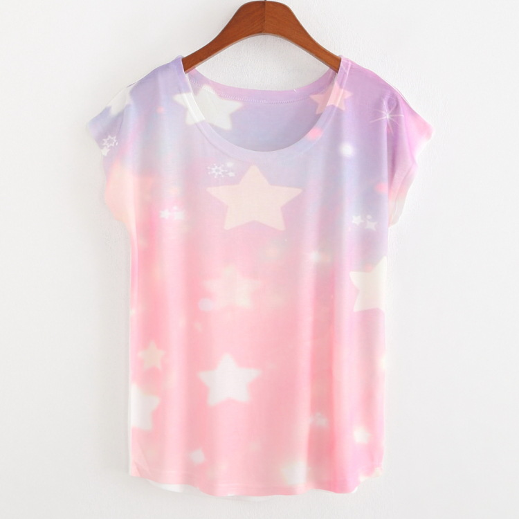 Hot 2015 New Arrival Wondefdul Styles Summer Short Tops Cotton Women Blouses new Digital Star Printing T shirts fashionОдежда и ак�е��уары<br><br><br>Aliexpress