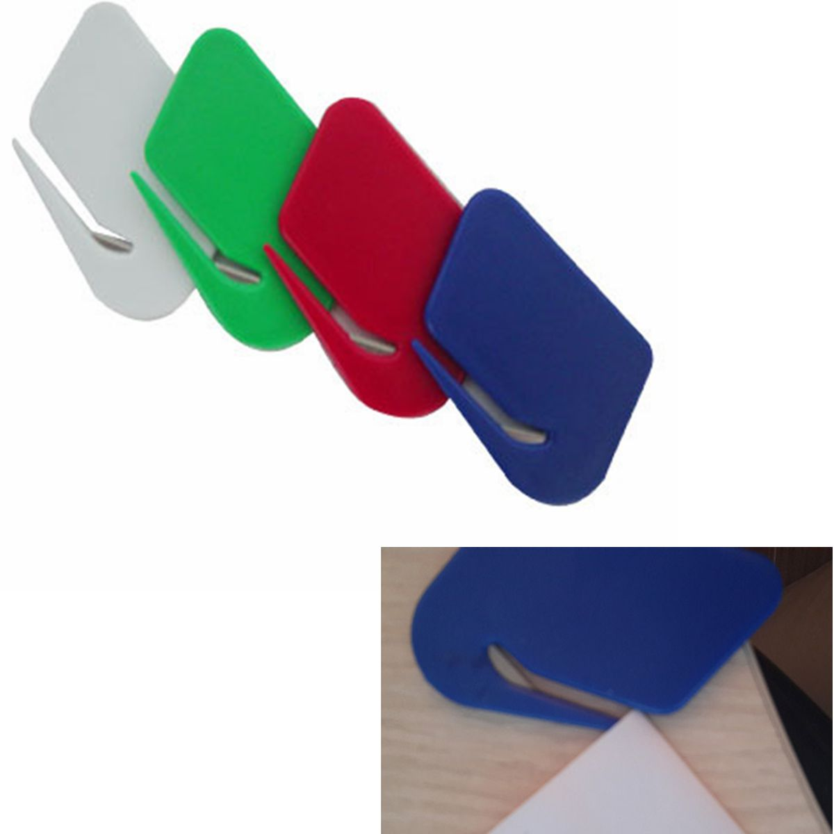 Plastic Letter Mail Envelope Opener Mini Letter Knife Office Equipment Safety Paper Guarded Cutter Blade Random Color(China (Mainland))