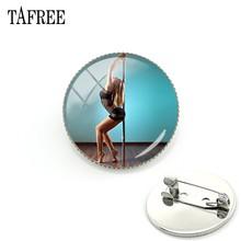 TAFREE Pole Dancing Immagine Spilla Design Alla Moda Spille Distintivo Cupola Di Cabochon In Vetro di Arte Regalo Delle Donne Dei Monili PD39(China)