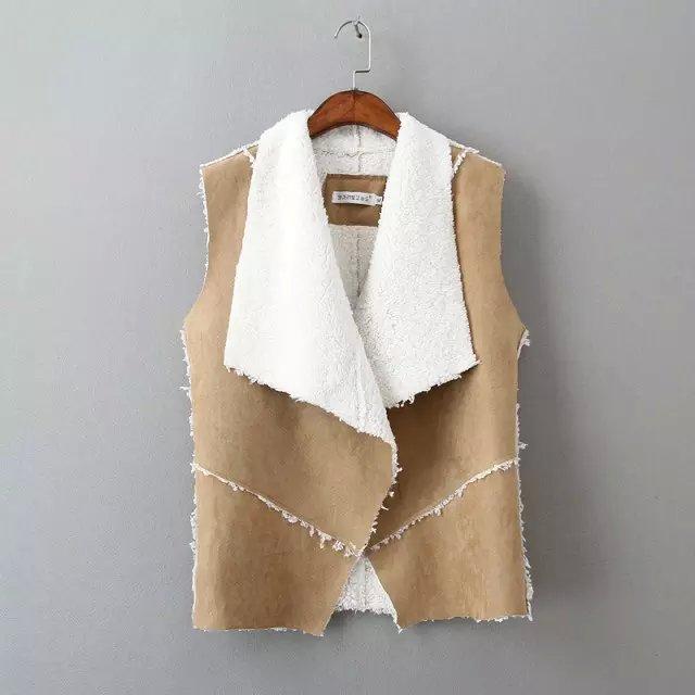 2015 mode automne hiver femmes en daim en cuir faux gilet de fourrure veste lady automne manches. Black Bedroom Furniture Sets. Home Design Ideas